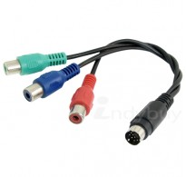 25CM 7-Pin S-Video to 3 RCA RGB Component TV HDTV Cable