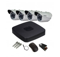 Mandrill 4 PC Outdoor HDCVI Night Vision Security CCTV Camera with 8 Ch Hi Focus DVR